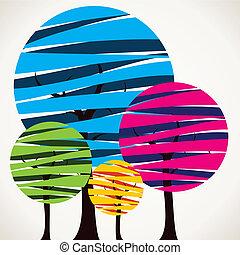 coloré, arbre, résumé