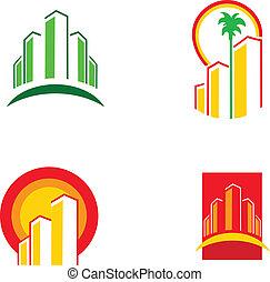 coloré, bâtiment, illustration, vecteur, -1, icônes
