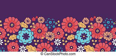 coloré, bouquet, modèle, seamless, horizontal, fleurs, frontière