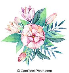 coloré, bouquet, set., fleurs, floral, fleurs, dr, feuilles