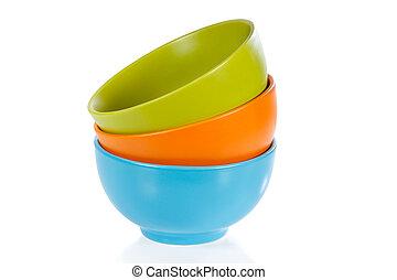 coloré, céramique, trois, fond, blanc, tasses