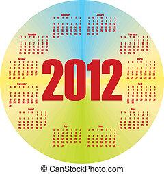 coloré, calendrier, rond, 2012