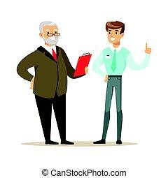 coloré, candidat, caractère, illustration, métier, vecteur, interview., pendant, sourire, dessin animé