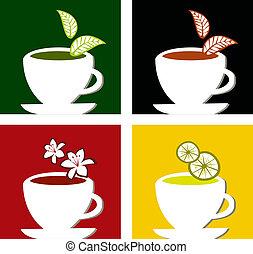 coloré, carrée, thé, étiquettes, composition