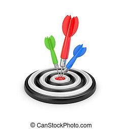 coloré, cible, dartboard., illustration, centre, dards, 3d