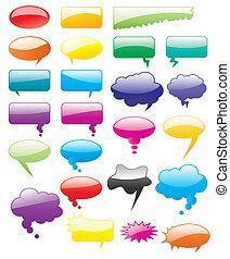 coloré, comiques, shapes., éditer, collection, ajouter, vecteur, texte, facile, size., n'importe quel