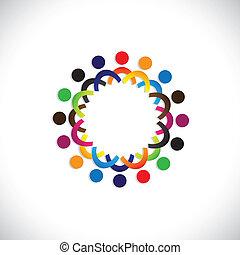 coloré, communauté, concepts, jouer, amitié, employé, gens, social, spectacles, vecteur, &, unions, diversité, partage, icons(symbols)., gosses, ouvrier, illustration, graphic-, aimer, concept, etc