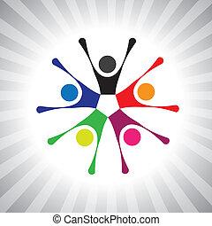 coloré, communauté, copains, aussi, jouer, amusement, vibrant, simple, friendship-, avoir, vecteur, enfants, célébrer, graphic., boîte, réunion, excité, gosses, illustration, gens, représenter, ceci