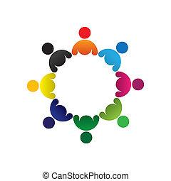 coloré, concepts, communauté, jouer, amitié, employé, vecteur, enfants, &, unions, diversité, représente, partage, icons(signs)., gosses, ouvrier, résumé, illustration, graphic-, groupe, aimer, concept, etc