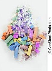 coloré, désordre, sur, craie, cassé, couleurs, blanc