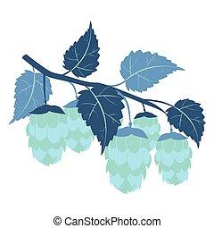 coloré, dessin animé, couleur, vector., style, plat, minimalistic, houblon, plante