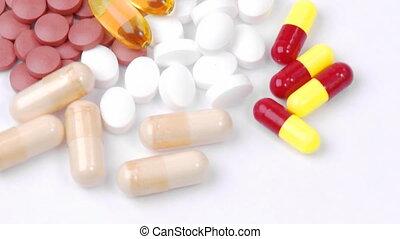 coloré, dollars, pilules, tourner