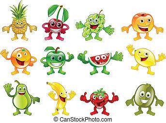 coloré, ensemble, caractère, fruit, mascottes