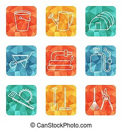 coloré, ensemble, contour, icônes, apparenté, vecteur, outils, jardin