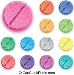coloré, ensemble, drogue, vecteur, pilules