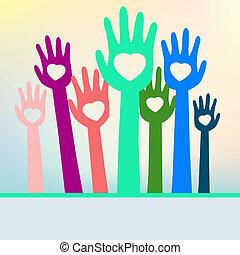 coloré, eps, space., mains, 8, copie, aimer