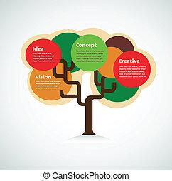 coloré, espace, arbre, texte, fond, infographics