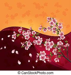 coloré, fleur, cerise, -, japonaise, arbre, fond, clair, vecteur, sakura