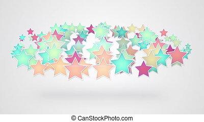 coloré, fond, étoiles, blanc