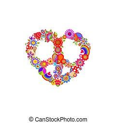 coloré, fond, mouche agarique, forme, arc-en-ciel, paix, blanc, hippie, mode, sac, textile, symbole, impression, flower-power, coeur, chemise, t