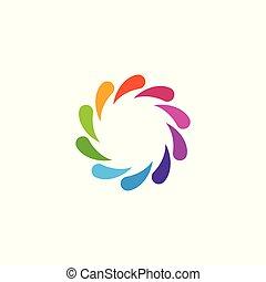 coloré, forme abstraite, tourbillon, logo, prospectus circulaire