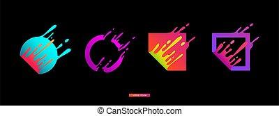 coloré, forme, géométrique, peinture, mouvement, éclaboussure, gradient, moderne, ensemble