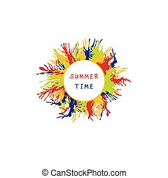 coloré, frame., illustration, rond, vecteur, éclaboussure, été, peinture