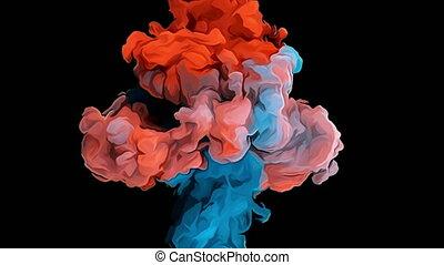 coloré, fumée, smoke., noir, lent, effondrement, arrière-plan., collision, mouvement, cartoonn