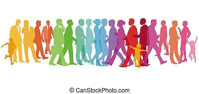coloré, gens, illustration, -, vecteur, groupe, grand