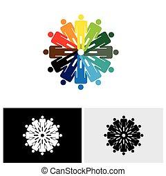coloré, gens, résumé, ensemble, vecteur, tenant mains, logo, icône