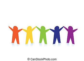 coloré, gens, résumé, papier, isolé, blanc