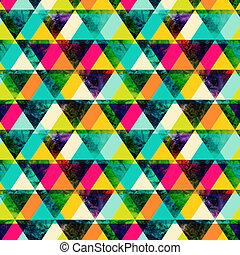 coloré, grunge, clair, texture, style., retro, triangles, moderne, seamless, template., aquarelle, hipster, arrière-plan., pattern., géométrie, triangle