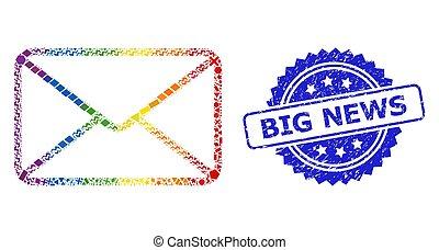 coloré, grunge, lgbt, géométrique, cachet, grandes nouvelles, enveloppe, collage