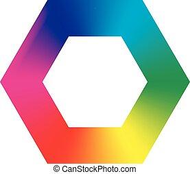 coloré, icône, hexgon