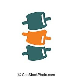 coloré, icon., foraminal, sténose, dos, spondylolisthesis, symbole, osteochondrosis