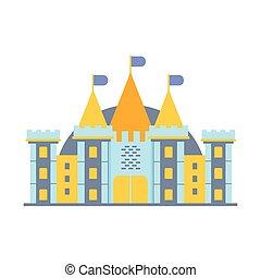 coloré, illustration, conte, vecteur, château, fée
