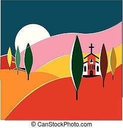 coloré, illustration, paysage, talian, toscane
