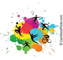 coloré, -, illustration, vecteur, fond, sport