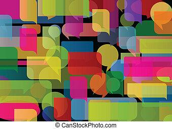 coloré, illustration, vecteur, parole, fond, bulles, ballons, nuage