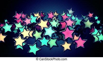 coloré, incandescent, boucle, étoiles, backgro