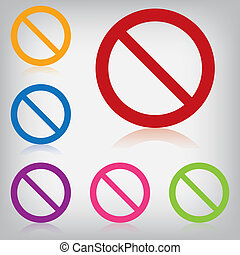 coloré, interdit, isolé, signe, vecteur, meute