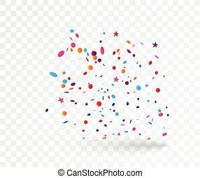 coloré, isolé, confetti, fond, transparent, célébration