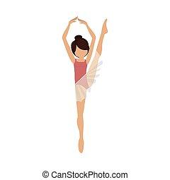 coloré, jambe haut, danseur, position, cinquième