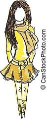 coloré, jeune, jaune, dessiné, girl, vêtements
