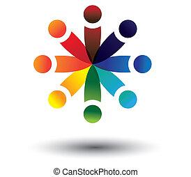 coloré, jouer, vecteur, cercle, concept, gosses, école