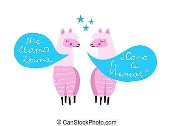 coloré, lamas, deux, main, conversation, conception, impression, dessiné