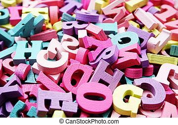 coloré, letterpress, alphabet, aléatoire, haut fin, rotation