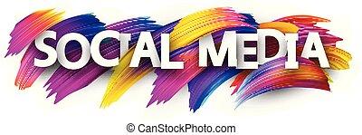 coloré, média, strokes., signe, brosse, social