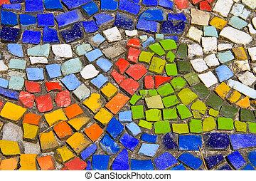 coloré, modèle, céramique, arrière-plan., carreau, mosaïque