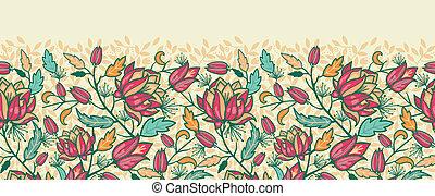 coloré, modèle, feuilles, seamless, horizontal, fleurs, frontière